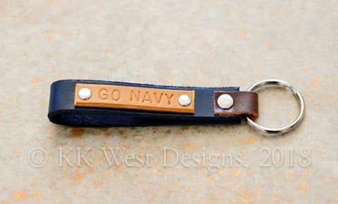 """GO NAVY"" Blue and Gold USNA Handmade Key Ring Loop (D936)"