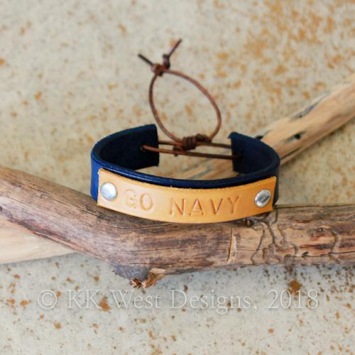 """GO NAVY"" Handmade Adjustable Leather Cuff (D934)"