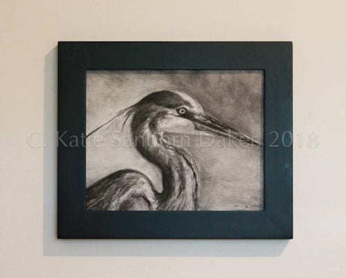 "SOLD-""Focus"" Original Charcoal Drawing on Canvas by Katie Sanborn Daker-10""x 8"""