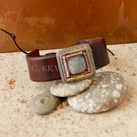 """Labradorite and Copper"" Mosaic and Leather Cuff/Bracelet (D097)"