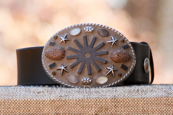 Image of Buckle on Belt-Copyrighted image of KK West Designs, 2015.