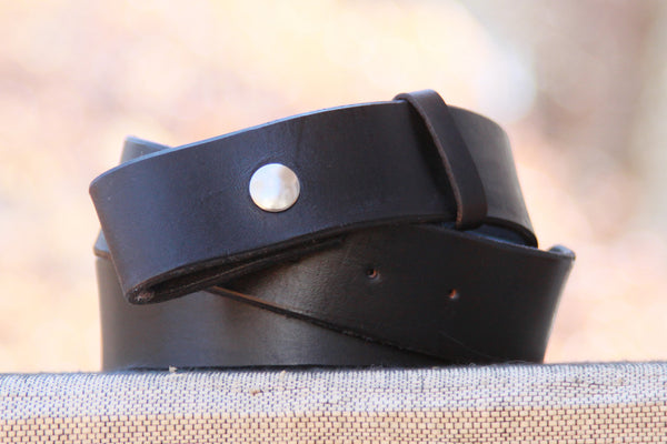 "Handmade 1 1/2"" Wide Black Leather Belt Strap"