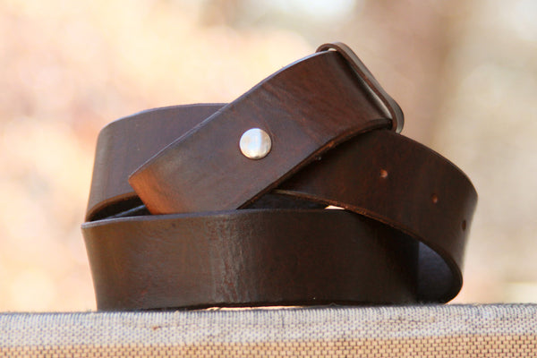 "Handmade 1 1/2"" Wide  Brown Leather Belt Strap"
