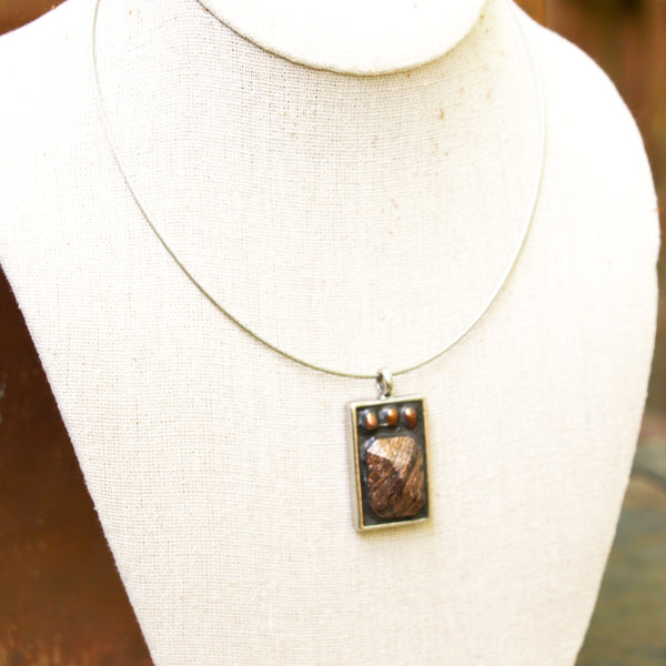 """Vintage Crystal and Copper"" One-of-a-Kind Mosaic Pendant Necklace (1197)"