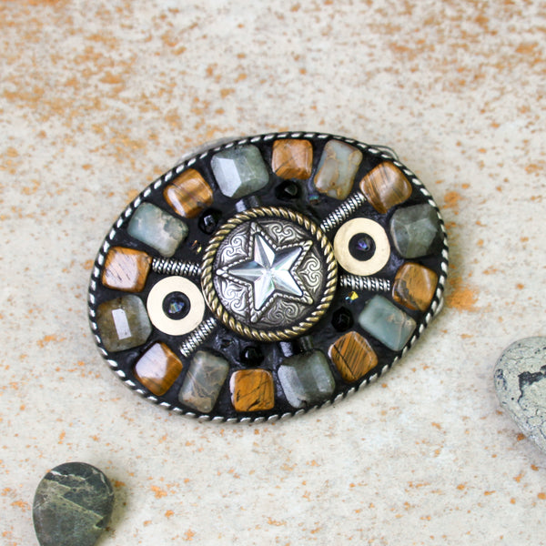 """Full-On Cowgirl Chic"" One-of-a-Kind Mosaic Belt Buckle (779)"