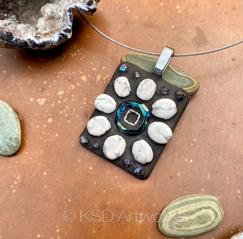 """Marble and Crystal Flower"" One=of=aKind Mosaic Pendant Necklace (1267)"