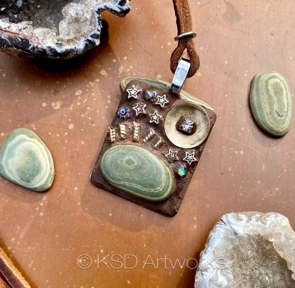 """Rock and Brass Sunset"" One-of-a-Kind Mosaic Pendant Necklace (1268)"