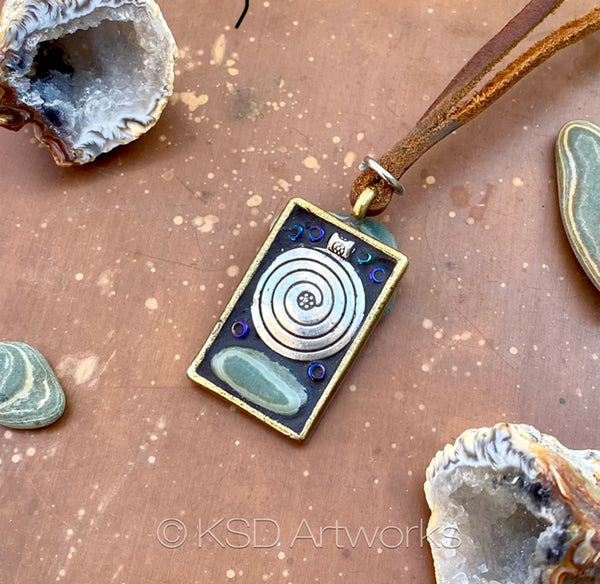 """Rock and Silver Zen"" One-of-a-kind Mosaic Pendant Necklace (1270)"