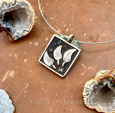 """Silver and Rhinestone Flower"" One-of-a-Kind Mosaic Pendant Necklace (1271)"
