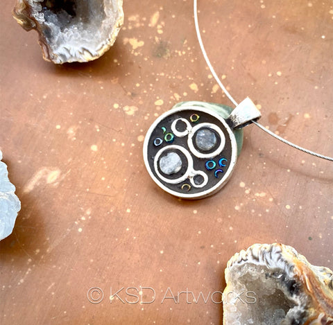 """Silver Rings"" Mosaic Pendant Necklace (1272)"
