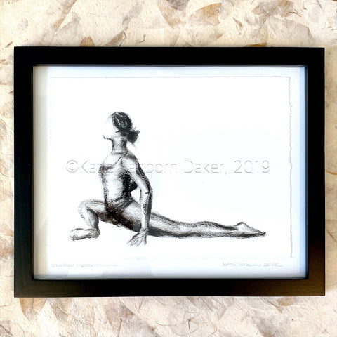 """Kapotasana (Pigeon)"" Yoga Pose Black and White Oil Painting-16"" x 12"""