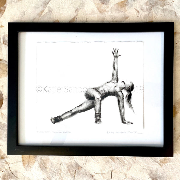 """Parivrtta Sanchalanasana (Twisted Side Lunge)"":  Black & White Original Oil Painting: 16""x12"""