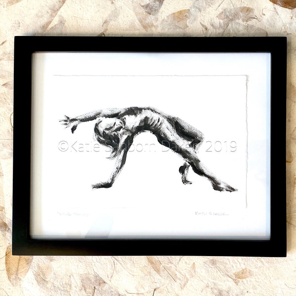 """Wild Thing"" Yoga Pose Original Black and White Oil Painting-12"" x 16"""