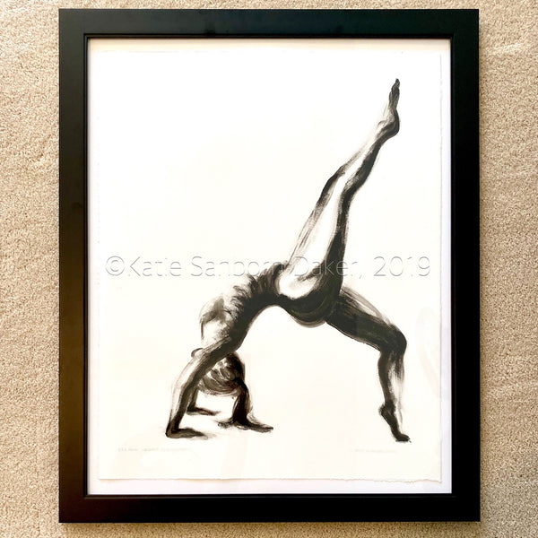 """Eka Pada Dhanurasana (One-Legged Backbend)"" Yoga Pose Black & White Original Oil Painting:  27""x33"""