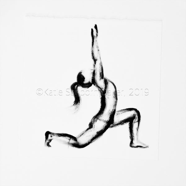 """Anjaneyasana (Crescent Lunge)"" Yoga Pose Black & White Oil Painting-12""x16"""