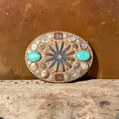 """Spur, Turquoise, and Vintage Crystal"" Mosaic Belt Buckle (D756b)"