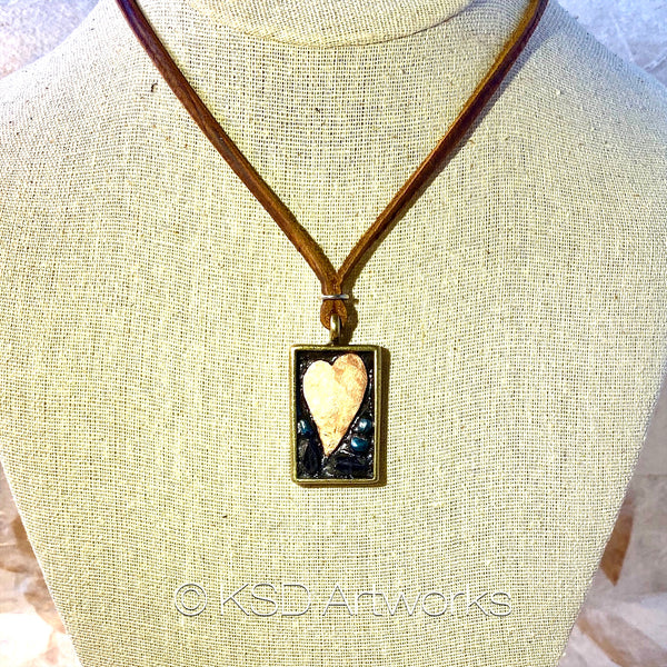 """I (Copper) Heart You"" Mosaic Pendant Necklace (1266)"