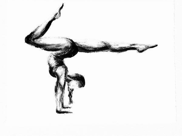 """Adho Muka Vrksasana (Handstand)"" Yoga Pose Black & White Original Oil Painting-17""x 13"""