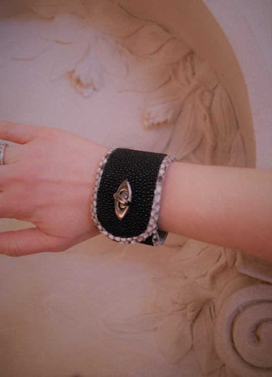 Black Stingray and  Python skin  bracelet