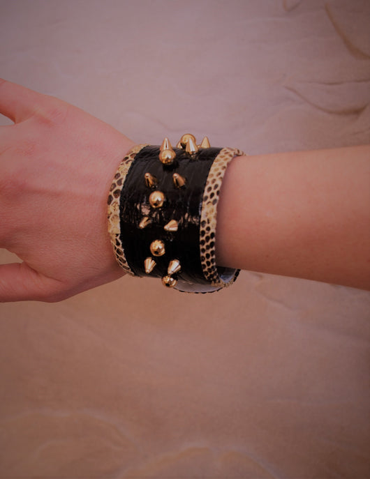 Black crocodile  with yellow  Python skin  bracelet