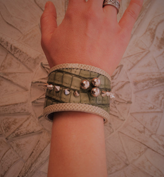 Green Crocodile  and River Snake skin  bracelet with Silver Details