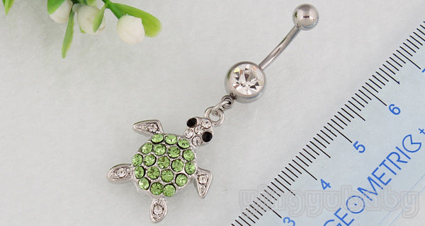 Tortoise Turtle Belly Button Navel Ring 316L Surgical Steel Silver/Green