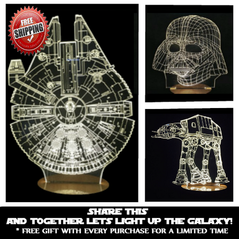 Star Wars Lamp - Millennium Falcon, Darth Vader, or AT-AT with FREE 8 GB USB Flashdrive
