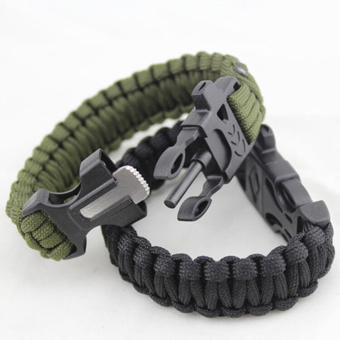 4 in 1 Survival Paracord Bracelet - Firestarter, Whistle, Fire Starter Scraper/Cutting Tool, Survival Rope