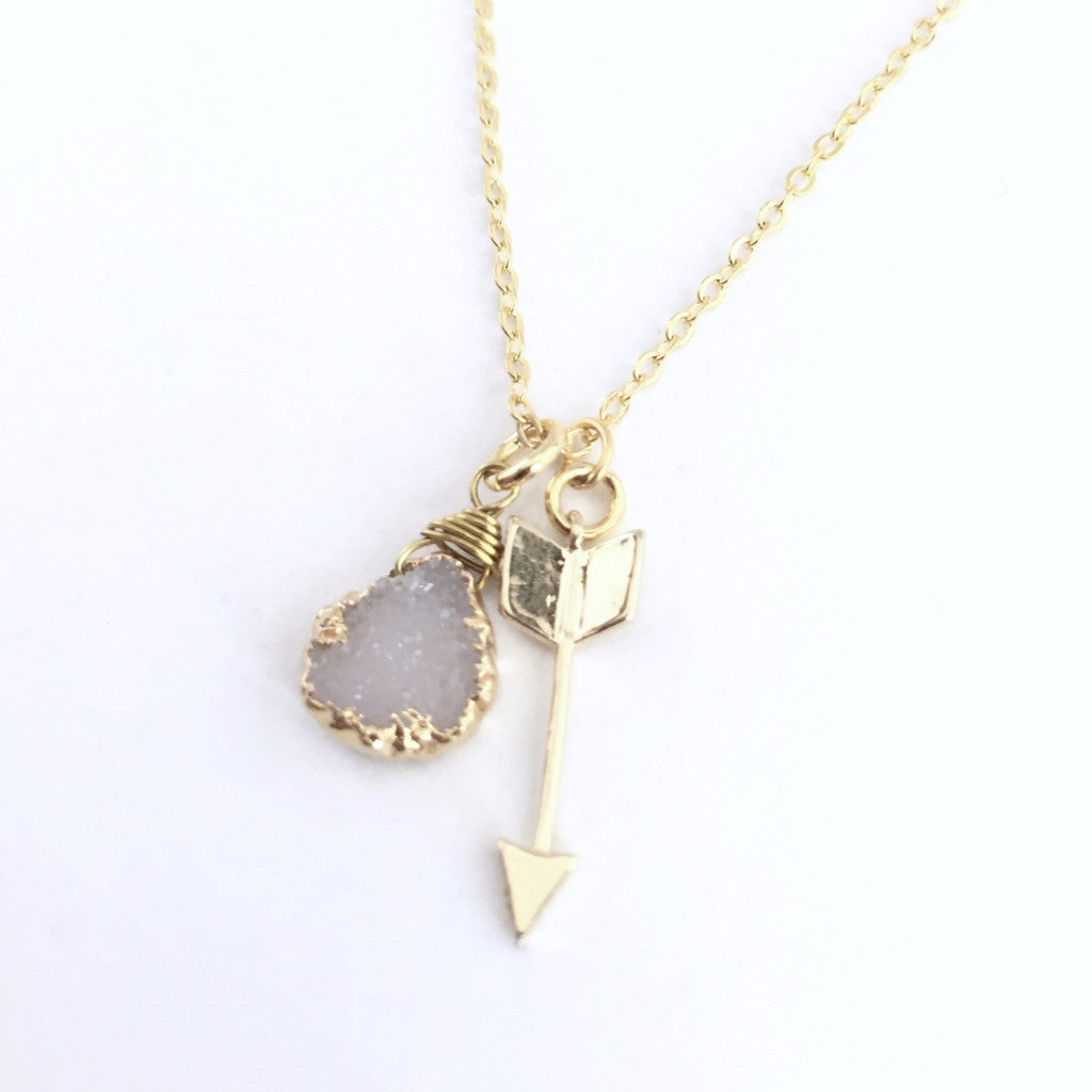 Druzy & Arrow Necklace Sterling