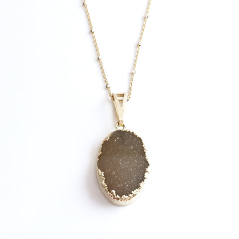 Druzy Love Necklace