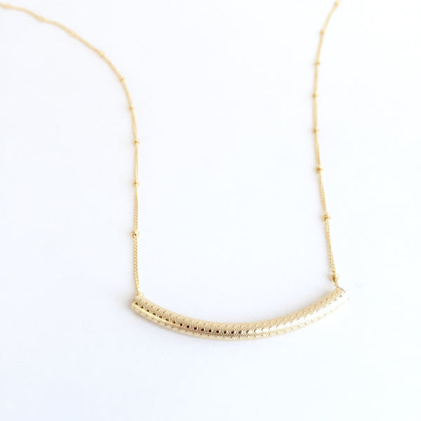 14K Textured Tube Necklace