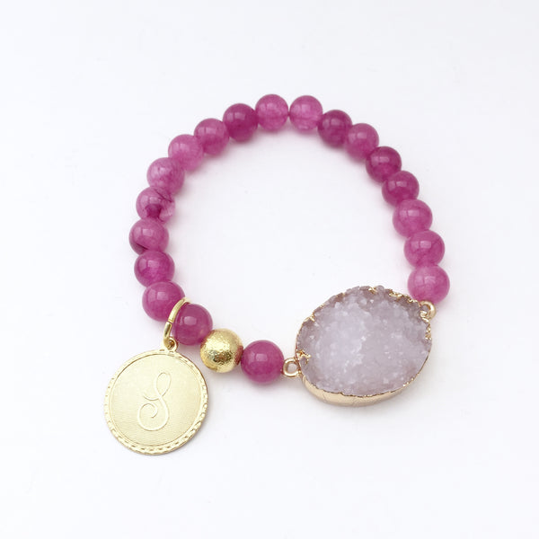 Genuine Stone Bracelet with Initial charm