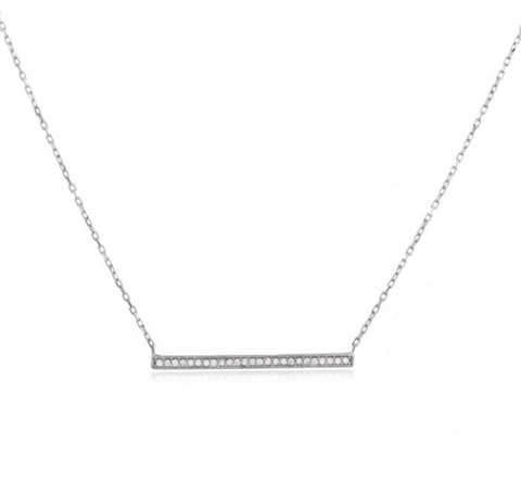 Sterling Tiny Crystal Bar Necklace