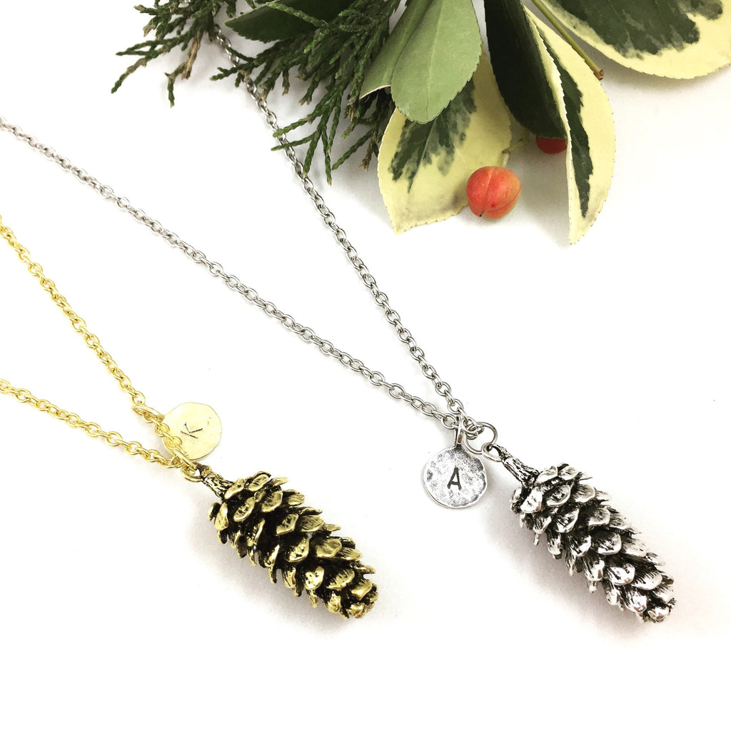 Pinecone & Hammered Initial Necklace