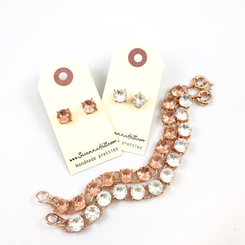 Rose Gold Bracelet & Earrings Set