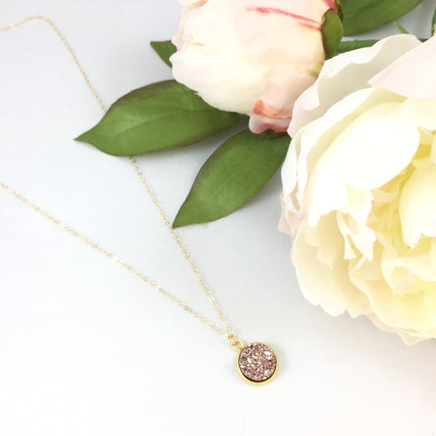 14K Rose Gold Druzy Necklace