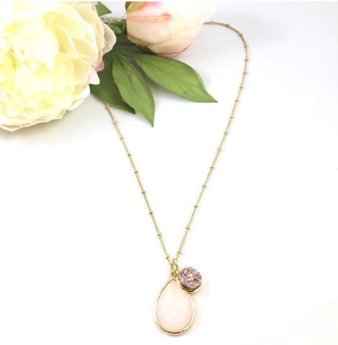 Faceted Rose Quartz & Rose Gold Druzy Necklace