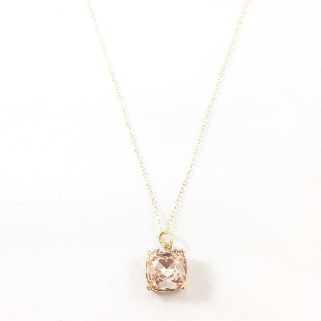 Rose Crystal Necklace- 14K