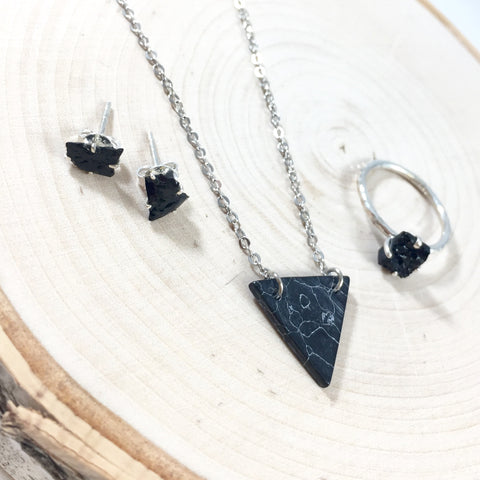 Black Stone Set - Sterling