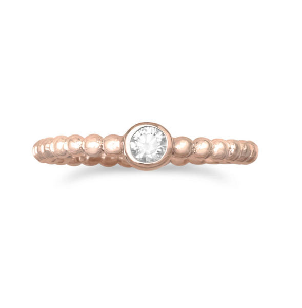 Rose Gold Crystal & Dot Ring
