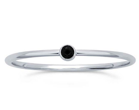 Sterling Silver Black Stacking Ring
