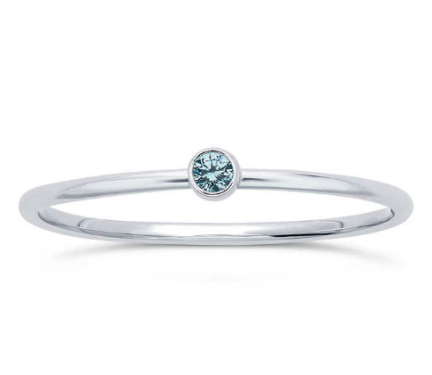 Sterling Silver Aquamarine Stacking Ring