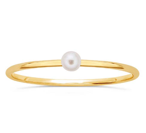 14k Gold Pearl Stacking Ring