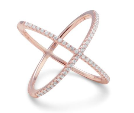 18k Rose Gold Criss Cross Ring