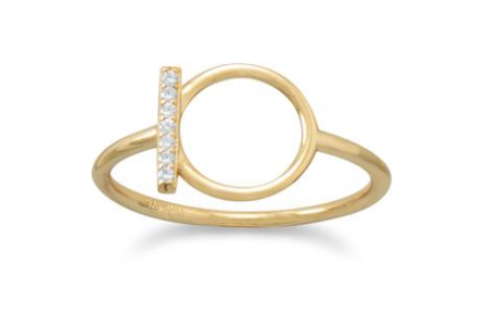 18K Gold Plated Crystal Bar & Circle Ring