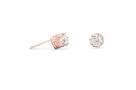 14K Rose Gold Crown Set Crystal Earrings