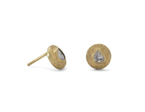 14K Gold Polki Diamond Post Earrings