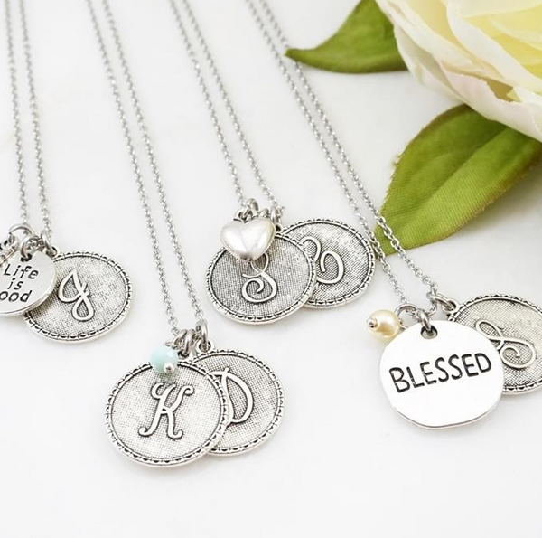 Stainless Steel Initial Necklace- 3 Charms