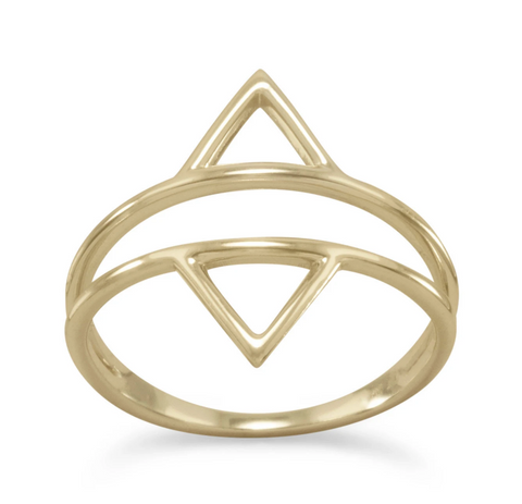 14K Double Triangle Ring