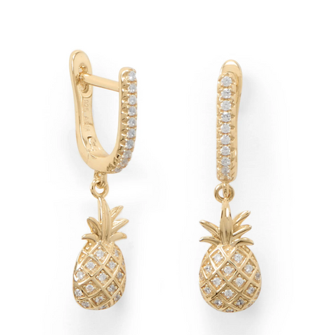 Pineapple Earrings 14K